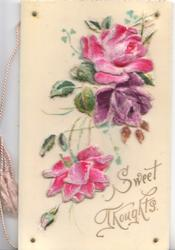 SWEET THOUGHTS in gilt, 2 pink & a purple rose mounted on thick cellophane rivetted to front cover