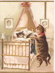 WITH FOND LOVE(hidden), mother cat walks on hind legs carrying candle & xmas stockings for 2 kittens in bed