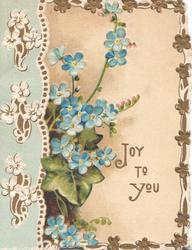 JOY TO YOU in gilt below right, forget-me-nots centrally, white stylised flowers left, 3 marginal floral edge designss