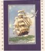 no front title, masted ship, thin grey border with seagull outline on larger blue border, side panels with grey stars
