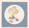 no front title, circular inset of snowy rural scene with cottage & trees, filigree border on blue background
