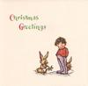 CHRISTMAS GREETINGS boy stands between two rabbits, rabbit left holds mistletoe