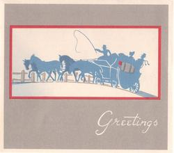 GREETINGS below inset of blue stagecoach driving left, narrow red border on grey background