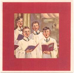 no front title, 4 chorister boys inset on red background