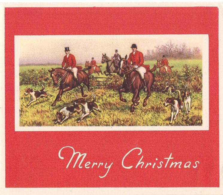 MERRY CHRISTMAS in white below inset of fox hunting scene, red background