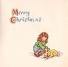 MERRY CHRISTMAS above girl crouching to pet rabbit