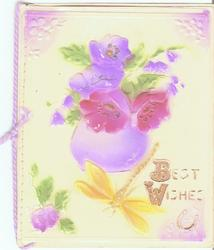 on celluloid front BEST WISHES in gilt, flowers in purple vase above
