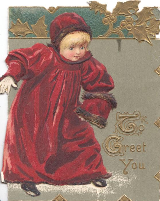 TO GREET YOU in gilt, girl in old style purple robe stands staring front & down right , grey background gilt & green design above