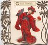 GREETINGS in gilt on white plaque above costumed Japanese girl holding flowers & fan, white background, lateral designs