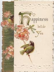 HAPPINESS BETIDE YOU(H illuminated) above cherry blossom & bluebird-of-happiness