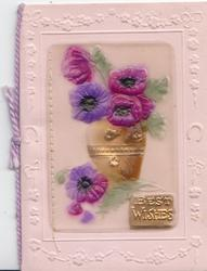 on celluloid front BEST WISHES on gilt plaque, purple flowers in gilt vase