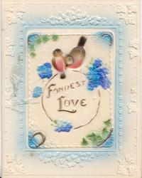 on celluloid front FONDEST LOVE two birds perched on top of ring, stylised flowers