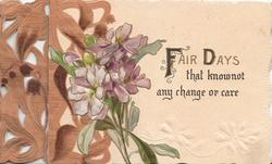FAIR DAYS(F & D illuminated) violets left, brown leafy design left
