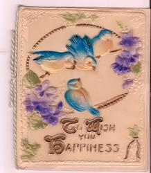 on celluloid front TO WISH YOU HAPPINESS four blue birds perched on gilt branches, purple flowers to the side