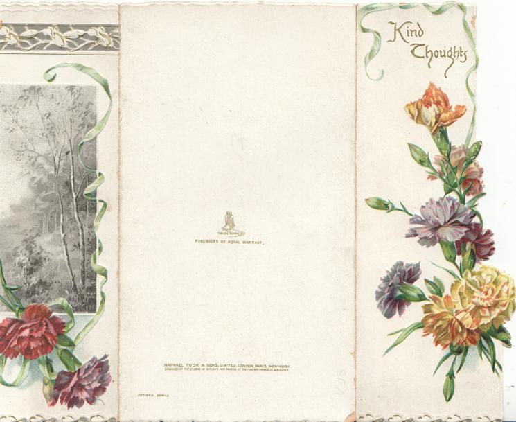KIND THOUGHTS above multicoloured carnations mostly on left flap, photographic rural inset right