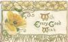 WITH EVERY GOOD WISH(illuminated) on white plaque, yellow pansy left & stylised pansy design above & below