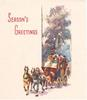 SEASON'S GREETINGS stagecoach drives forward, left out of narrow panel inset with stylised trees