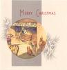 MERRY CHRISTMAS circular inset of cottage scene, grey panel & pine boughs with cones