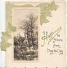 HAPPINESS BE YOURS FROM DAY TO DAY(H illuminated), stylised ivy above & left of watery rural inset, hoiuse behind trees