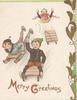 MERRY GREETINGS( M &G illuminated) below 3 boys sledding down hill, one has fallen, stylised mistletoe design on right edge