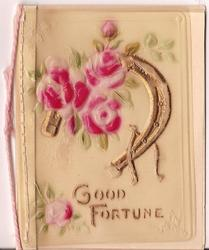 on celluloid front GOOD FORTUNE gilt horseshoe and wishbone decorated by pink flowers