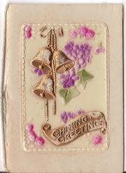 on celluloid front CHIMING GRETINGS on gilt plaque, gilt bells and pink flowers hanging down