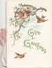 GLAD GREETINGS(illuminated) among 4 birds-of-happiness, glittered perforated branch above