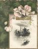 GOOD WISHES in gilt above gilt bordered watery rural inset with windmill, pale pink pansies, dark green background