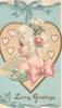 LOVING GREETINGS in gilt below white haired woman  with fan in front of gilt bordered heart suspended by blue ribbon on cream central plaque, blue background