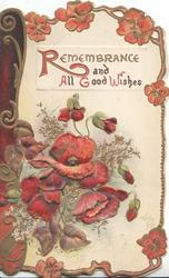 REMEMBRANCE AND ALL GOOD WISHES purple pansies & heather around, cream background, brown design left
