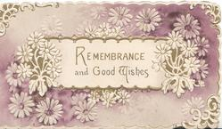 REMEMBRANCE AND GOOD WISHES on central white plaque, stylised white daisies around white/purple background