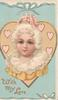 WITH MY LOVE in gilt below white haired woman in front of gilt bordered heart, blue background