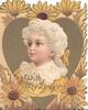 WITH MY LOVE in gilt below white haired girl facing left/front in gilt heart shaped inset, yellow daisies arouind