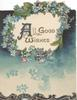 ALL GOOD WISHES on white plaque blue forget-me-nots around, white/blue background