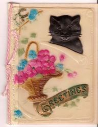 on celluloid front GREETINGS on gilt plaque below flower basket and black cat