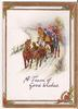A TEAM OF GOOD WISHES people in carriage being pulled by horses in winter scene
