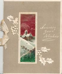 SINCERE GOOD WISHES in white, white framed iridescent inset winter rural scene, stylised white holly, grey background