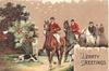 HEARTY GREETINGS, fox hunting scene, hound leads 5 riders moving front left, berried holly left