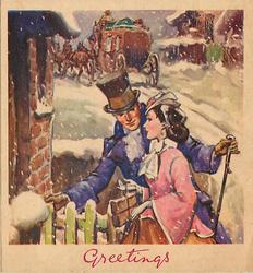 GREETINGS couple in old style dress at green wooden gate, stagecoach in background, snow falls