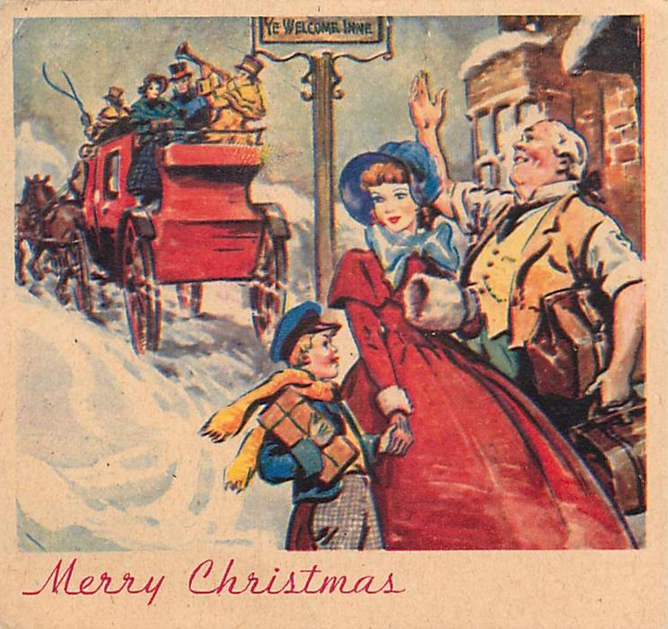 MERRY CHRISTMAS mother & child with innkeeper front right, as stagecoach rides off behind, snow