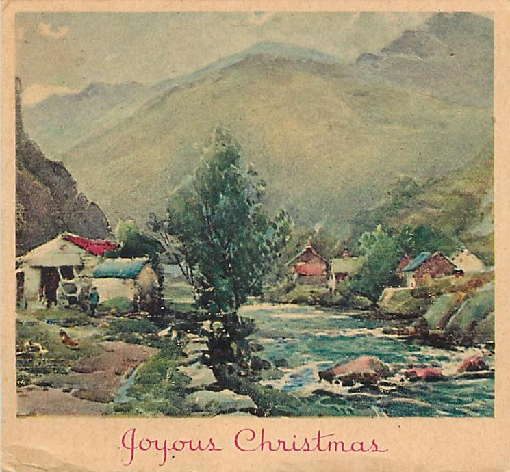 JOYOUS CHRISTMAS small riverside cottages, hazy mountains in distance