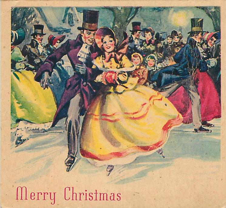 MERRY CHRISTMAS couple in old style dress ice skate forward, many others skate behind