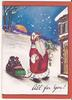 ALL FOR YOU! Santa Claus outside house with sack of toys and holly branch