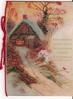 ROUND DECEMBERS CHEERFUL EMBERS ONE REMEMBERS MERRY CHRISTMAS winter cabin scene