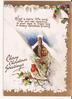CHEERY CHRISTMAS GREETINGS bird perched on holly in front of snowy cabin, verse above