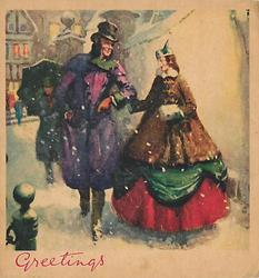 GREETINGS couple in glamorous old style dress walk forward in snow