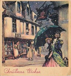 CHRISTMAS WISHES man holds umbrella for woman, shops in background, old style dress