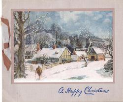 A HAPPY CHRISTMAS in blue, man walks forward near large tree, cottages, farm buildings & trees behind, snow