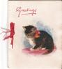 GREETINGS cat wearing ribbon looks to the left