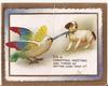 IT'S A CHRISTMAS GREETING AND THERE'S NO GETTING AWAY FROM IT! colorful bird pulls on ribbon attached to dog